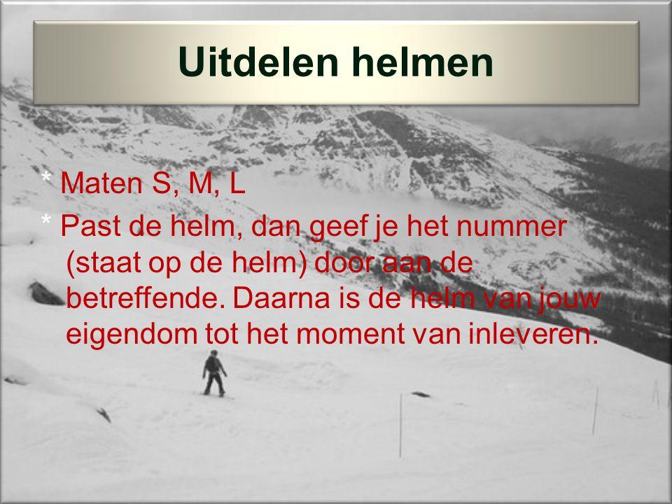 * Maten S, M, L * Past de helm, dan geef je het nummer (staat op de helm) door aan de betreffende.
