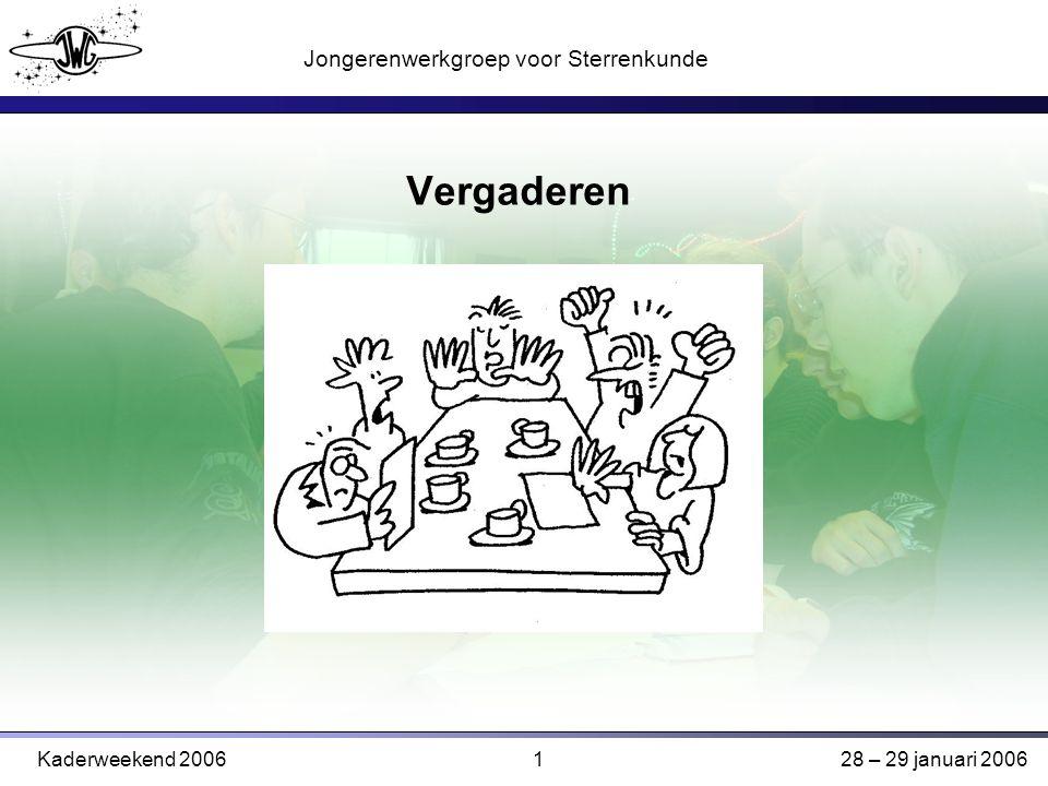 1 Jongerenwerkgroep voor Sterrenkunde Kaderweekend 200628 – 29 januari 2006 Vergaderen