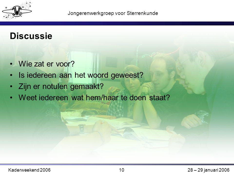 10 Jongerenwerkgroep voor Sterrenkunde Kaderweekend 200628 – 29 januari 2006 Discussie Wie zat er voor.