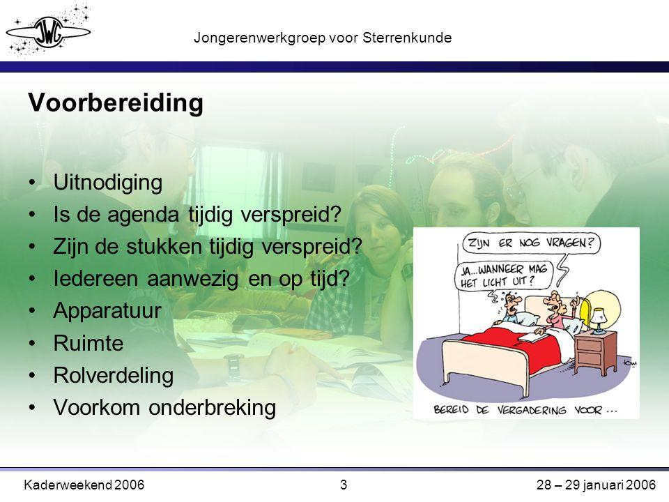 3 Jongerenwerkgroep voor Sterrenkunde Kaderweekend 200628 – 29 januari 2006 Voorbereiding Uitnodiging Is de agenda tijdig verspreid.