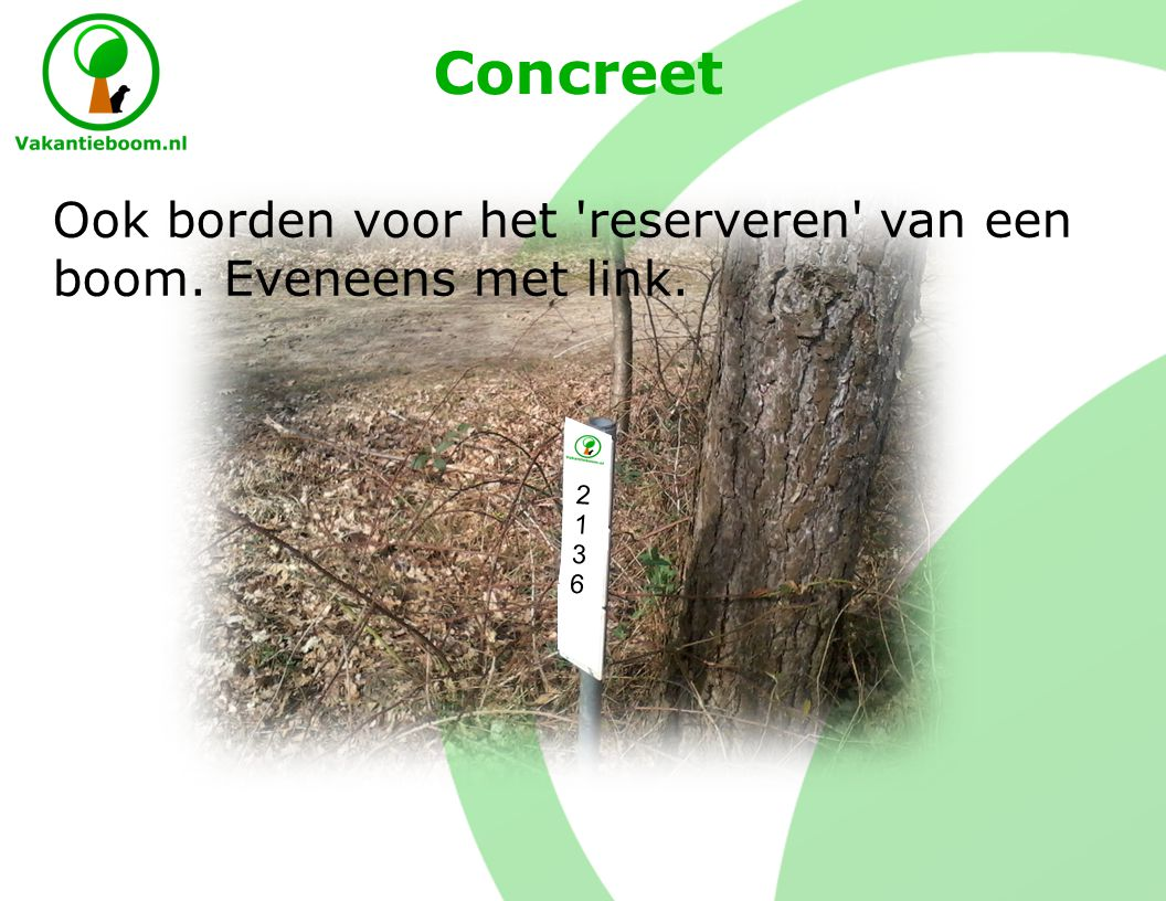 Concreet 21362136 Ook borden voor het reserveren van een boom. Eveneens met link.