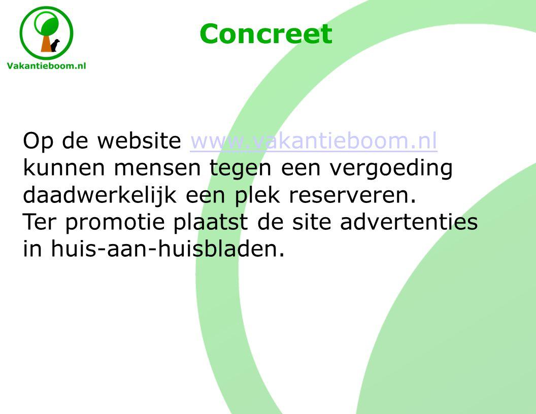 Concreet Op de website www.vakantieboom.nl kunnen mensen tegen een vergoeding daadwerkelijk een plek reserveren.www.vakantieboom.nl Ter promotie plaatst de site advertenties in huis-aan-huisbladen.