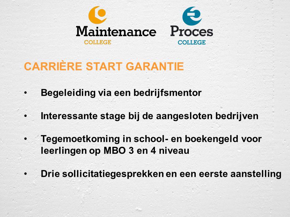 CARRIÈRE START GARANTIE Begeleiding via een bedrijfsmentor Interessante stage bij de aangesloten bedrijven Tegemoetkoming in school- en boekengeld voo