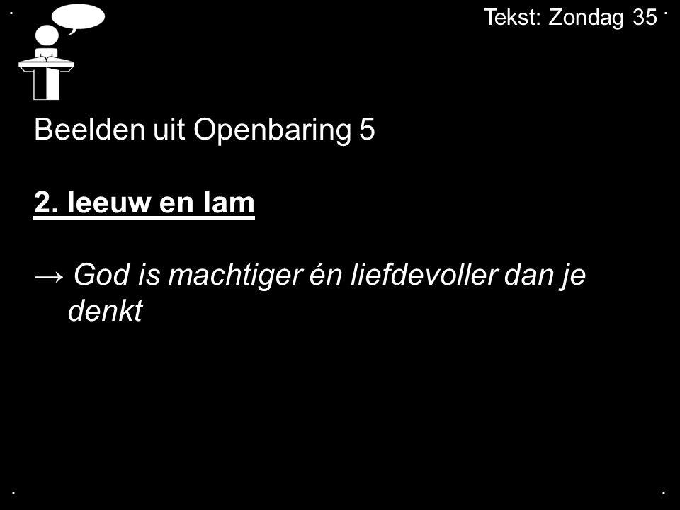 ....Tekst: Zondag 35 Beelden uit Openbaring 5 3.