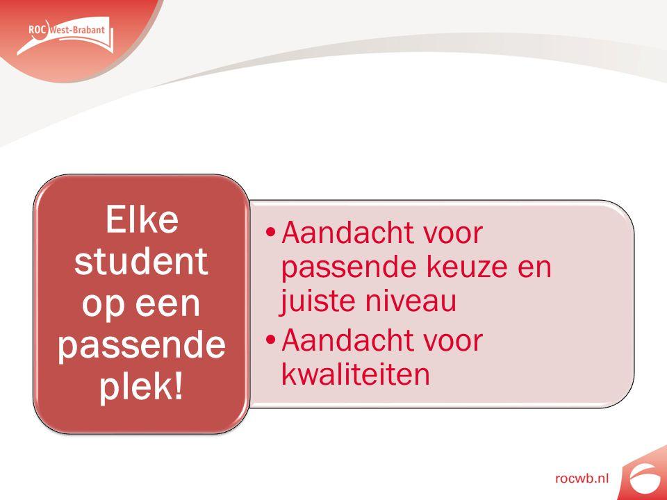 Aandacht voor passende keuze en juiste niveau Aandacht voor kwaliteiten Elke student op een passende plek!
