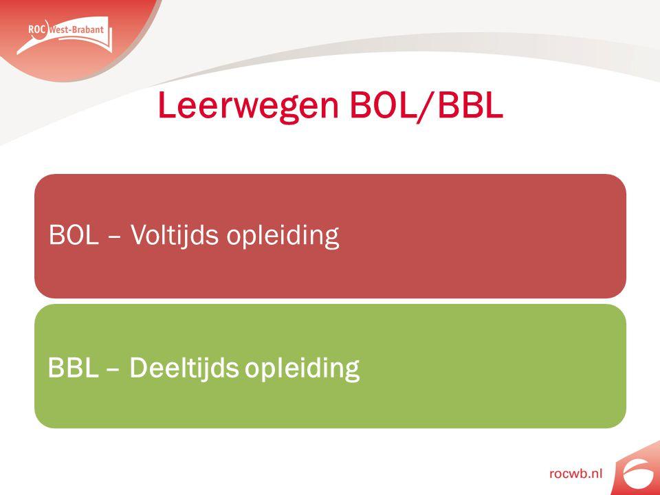 BOL – Voltijds opleiding BBL – Deeltijds opleiding Leerwegen BOL/BBL