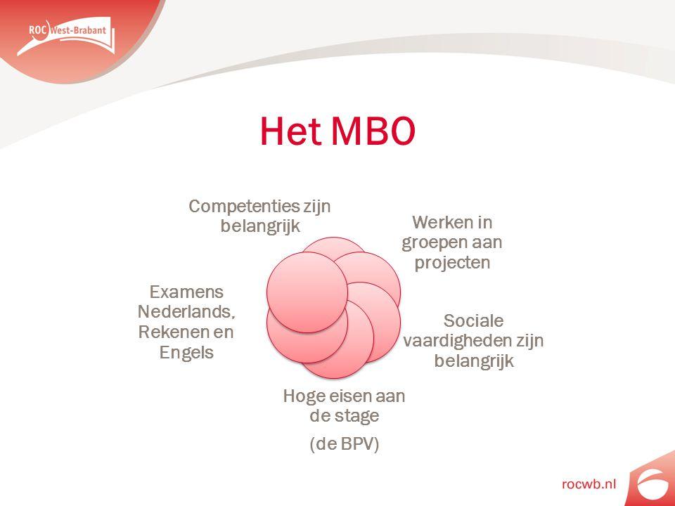 Het MBO Competenties zijn belangrijk Werken in groepen aan projecten Sociale vaardigheden zijn belangrijk Hoge eisen aan de stage (de BPV) Examens Ned