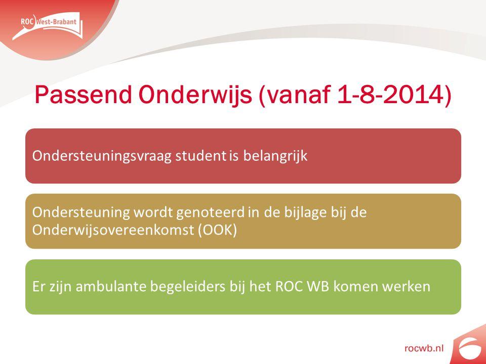Passend Onderwijs (vanaf 1-8-2014) Ondersteuningsvraag student is belangrijk Ondersteuning wordt genoteerd in de bijlage bij de Onderwijsovereenkomst