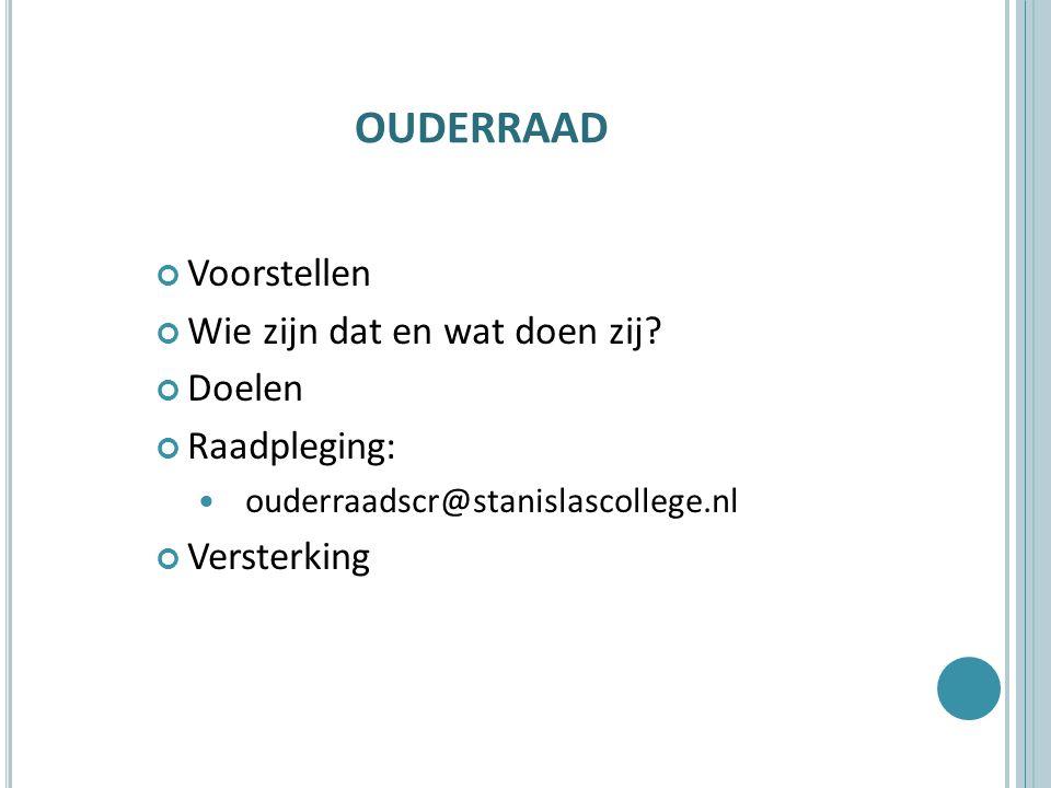 OUDERRAAD Voorstellen Wie zijn dat en wat doen zij? Doelen Raadpleging: ouderraadscr@stanislascollege.nl Versterking