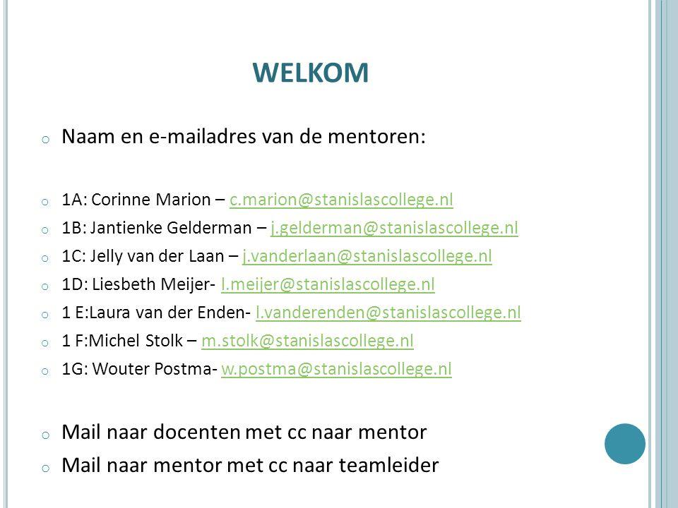 WELKOM o Naam en e-mailadres van de mentoren: o 1A: Corinne Marion – c.marion@stanislascollege.nlc.marion@stanislascollege.nl o 1B: Jantienke Gelderma