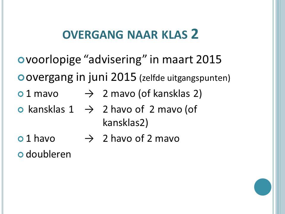 """OVERGANG NAAR KLAS 2 voorlopige """"advisering"""" in maart 2015 overgang in juni 2015 (zelfde uitgangspunten) 1 mavo →2 mavo (of kansklas 2) kansklas 1 → 2"""