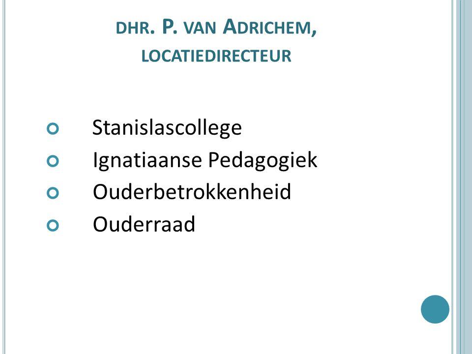 DHR. P. VAN A DRICHEM, LOCATIEDIRECTEUR Stanislascollege Ignatiaanse Pedagogiek Ouderbetrokkenheid Ouderraad