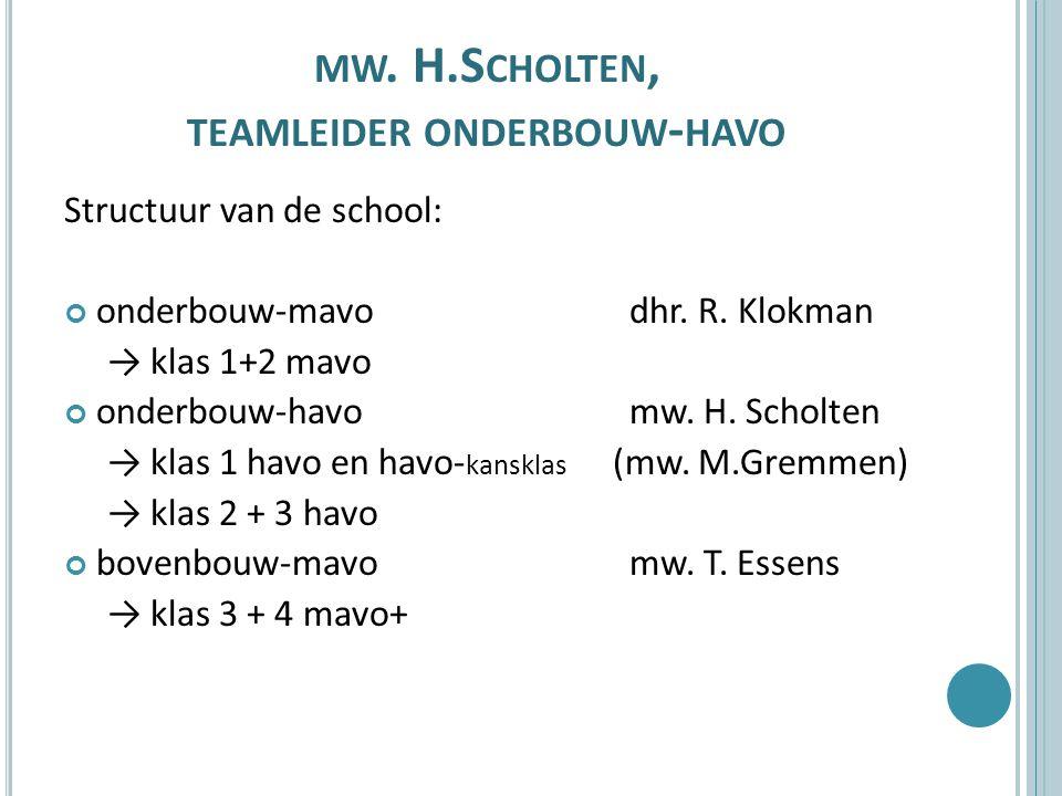 MW. H.S CHOLTEN, TEAMLEIDER ONDERBOUW - HAVO Structuur van de school: onderbouw-mavo dhr. R. Klokman → klas 1+2 mavo onderbouw-havo mw. H. Scholten →
