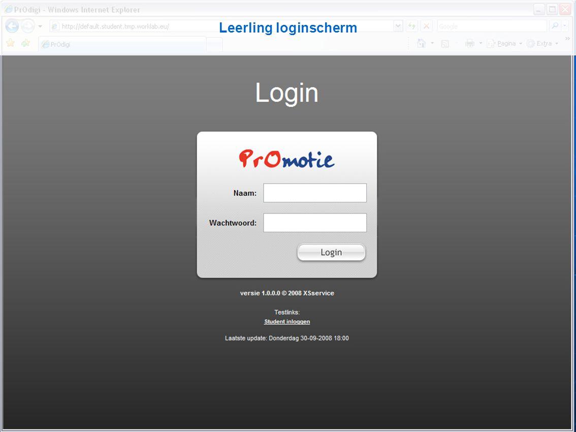 Leerling loginscherm