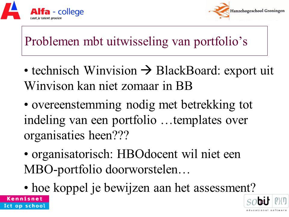 13 Problemen mbt uitwisseling van portfolio's technisch Winvision  BlackBoard: export uit Winvison kan niet zomaar in BB overeenstemming nodig met betrekking tot indeling van een portfolio …templates over organisaties heen??.