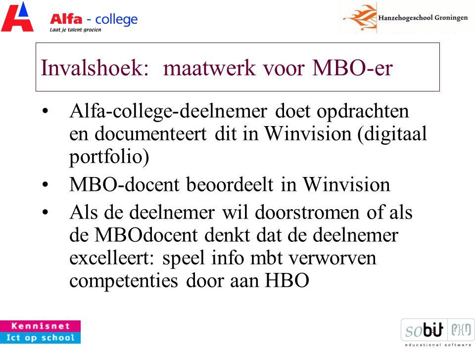 4 Invalshoek: maatwerk voor MBO-er Alfa-college-deelnemer doet opdrachten en documenteert dit in Winvision (digitaal portfolio) MBO-docent beoordeelt