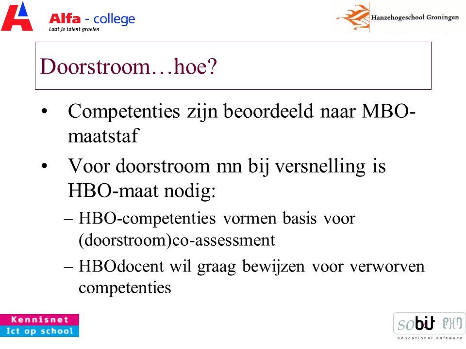 6 Doorstroom…hoe? Competenties zijn beoordeeld naar MBO- maatstaf Voor doorstroom mn bij versnelling is HBO-maat nodig: –HBO-competenties vormen basis