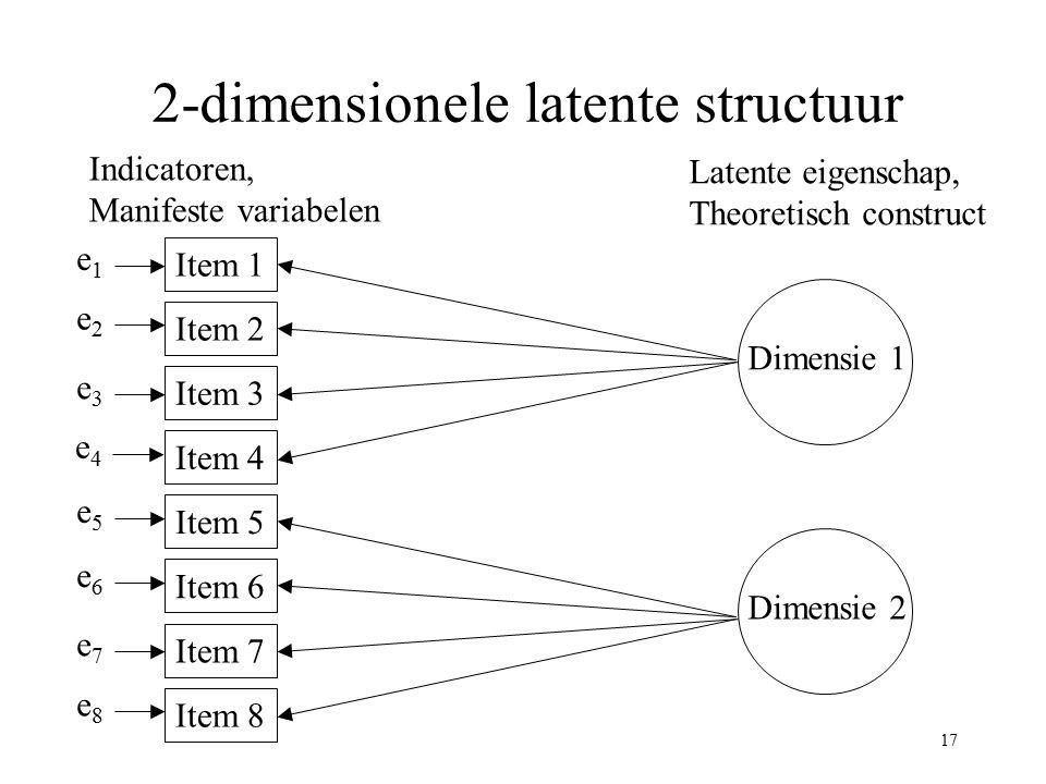 17 2-dimensionele latente structuur Dimensie 1 Item 1 Item 2 Item 3 Item 4 Item 5 Indicatoren, Manifeste variabelen Latente eigenschap, Theoretisch co