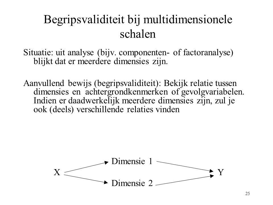 25 Begripsvaliditeit bij multidimensionele schalen Situatie: uit analyse (bijv. componenten- of factoranalyse) blijkt dat er meerdere dimensies zijn.