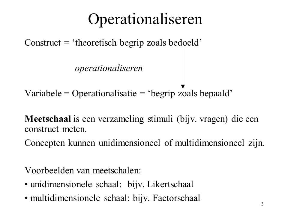 3 Operationaliseren Construct = 'theoretisch begrip zoals bedoeld' operationaliseren Variabele = Operationalisatie = 'begrip zoals bepaald' Meetschaal