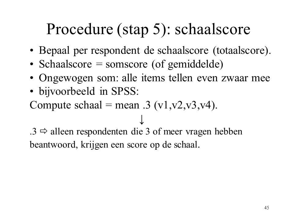 45 Procedure (stap 5): schaalscore Bepaal per respondent de schaalscore (totaalscore). Schaalscore = somscore (of gemiddelde) Ongewogen som: alle item