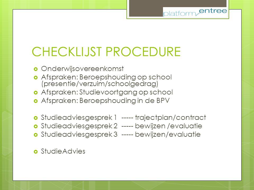 CHECKLIJST PROCEDURE  Onderwijsovereenkomst  Afspraken: Beroepshouding op school (presentie/verzuim/schoolgedrag)  Afspraken: Studievoortgang op sc