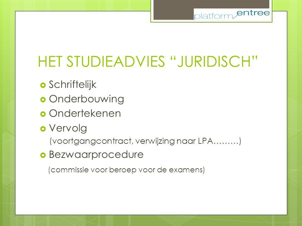 """HET STUDIEADVIES """"JURIDISCH""""  Schriftelijk  Onderbouwing  Ondertekenen  Vervolg (voortgangcontract, verwijzing naar LPA………)  Bezwaarprocedure (co"""