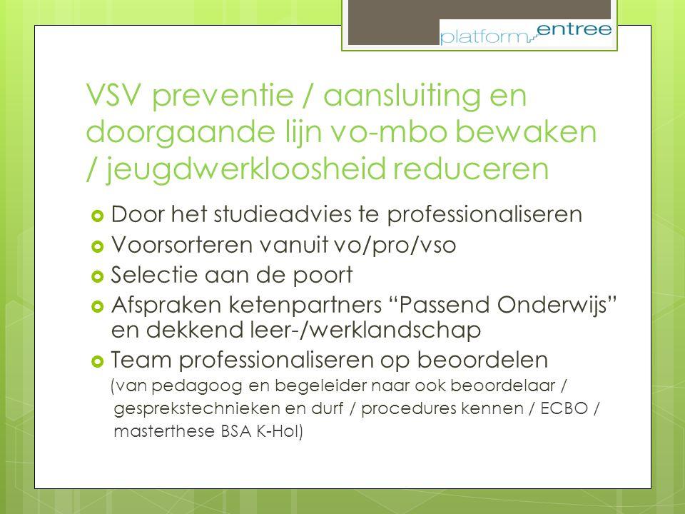 VSV preventie / aansluiting en doorgaande lijn vo-mbo bewaken / jeugdwerkloosheid reduceren  Door het studieadvies te professionaliseren  Voorsorter