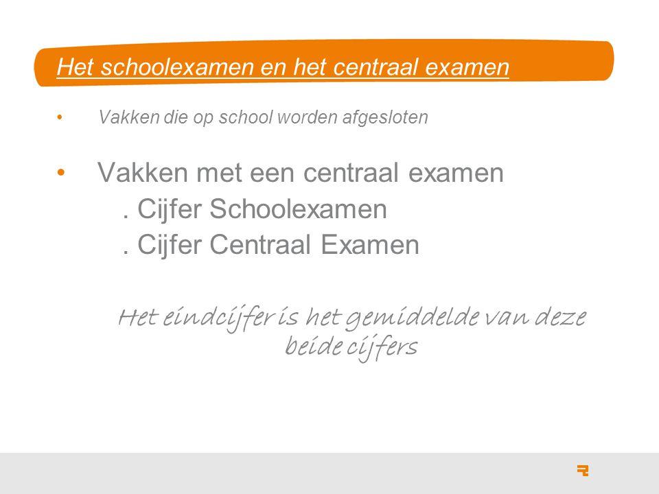 Het schoolexamen en het centraal examen Vakken die op school worden afgesloten Vakken met een centraal examen.