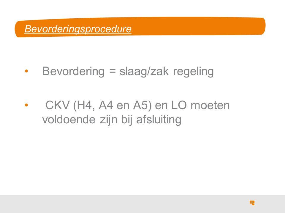 Bevorderingsprocedure Bevordering = slaag/zak regeling CKV (H4, A4 en A5) en LO moeten voldoende zijn bij afsluiting