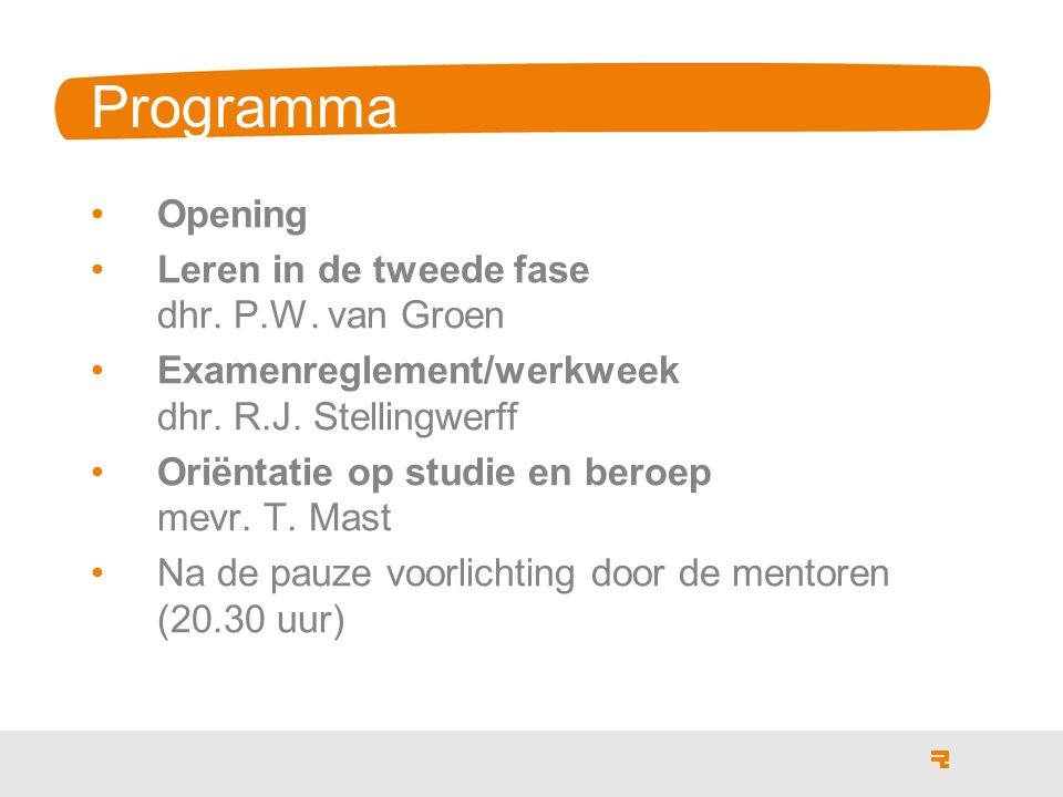 Programma Opening Leren in de tweede fase dhr. P.W.