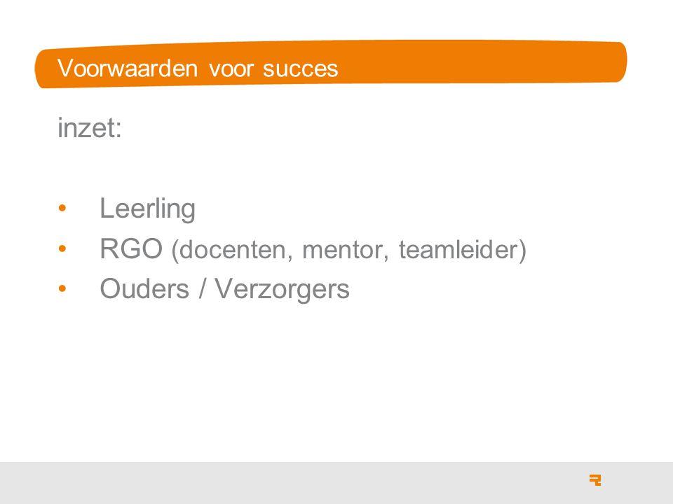 Voorwaarden voor succes inzet: Leerling RGO (docenten, mentor, teamleider) Ouders / Verzorgers