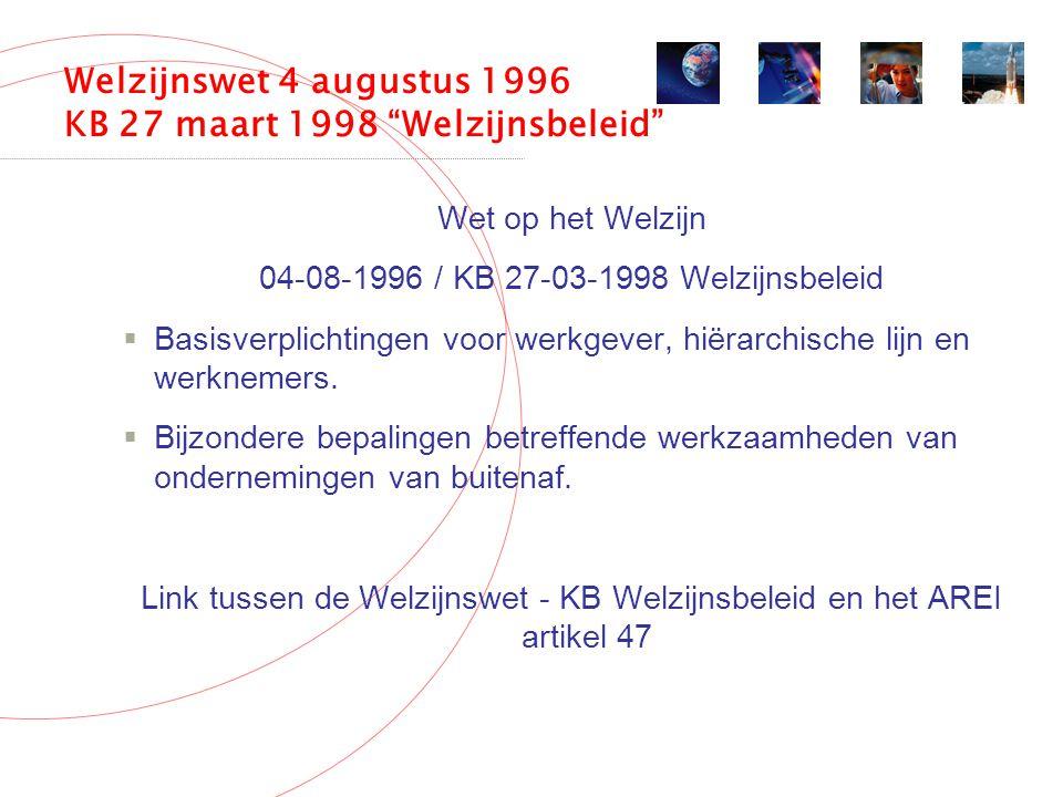 Welzijnswet 4 augustus 1996 KB 27 maart 1998 Welzijnsbeleid Wet op het Welzijn 04-08-1996 / KB 27-03-1998 Welzijnsbeleid  Basisverplichtingen voor werkgever, hiërarchische lijn en werknemers.
