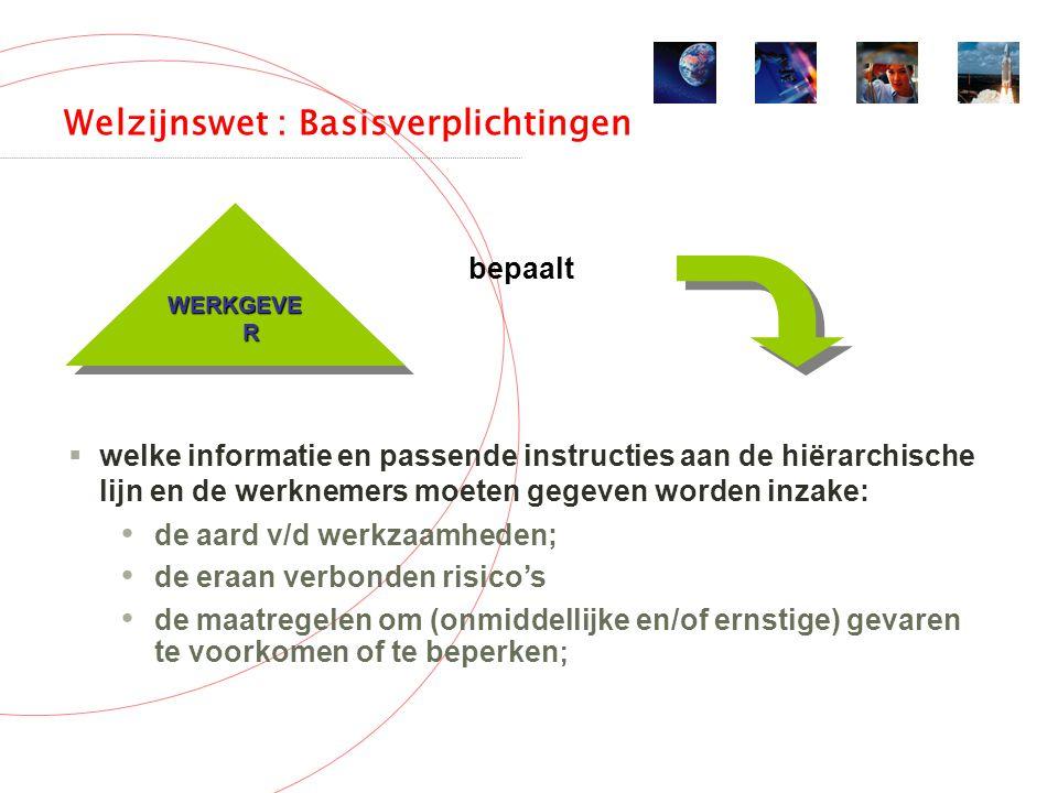 Welzijnswet : Basisverplichtingen WERKGEVE R  welke informatie en passende instructies aan de hiërarchische lijn en de werknemers moeten gegeven worden inzake: de aard v/d werkzaamheden; de eraan verbonden risico's de maatregelen om (onmiddellijke en/of ernstige) gevaren te voorkomen of te beperken ; bepaalt