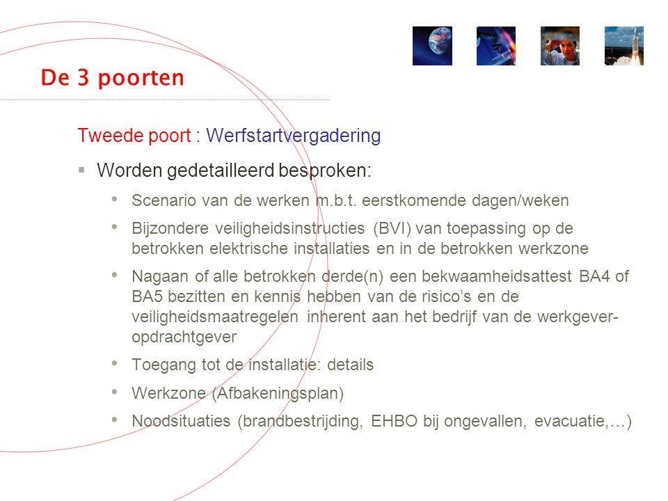 De 3 poorten Tweede poort : Werfstartvergadering  Worden gedetailleerd besproken: Scenario van de werken m.b.t.