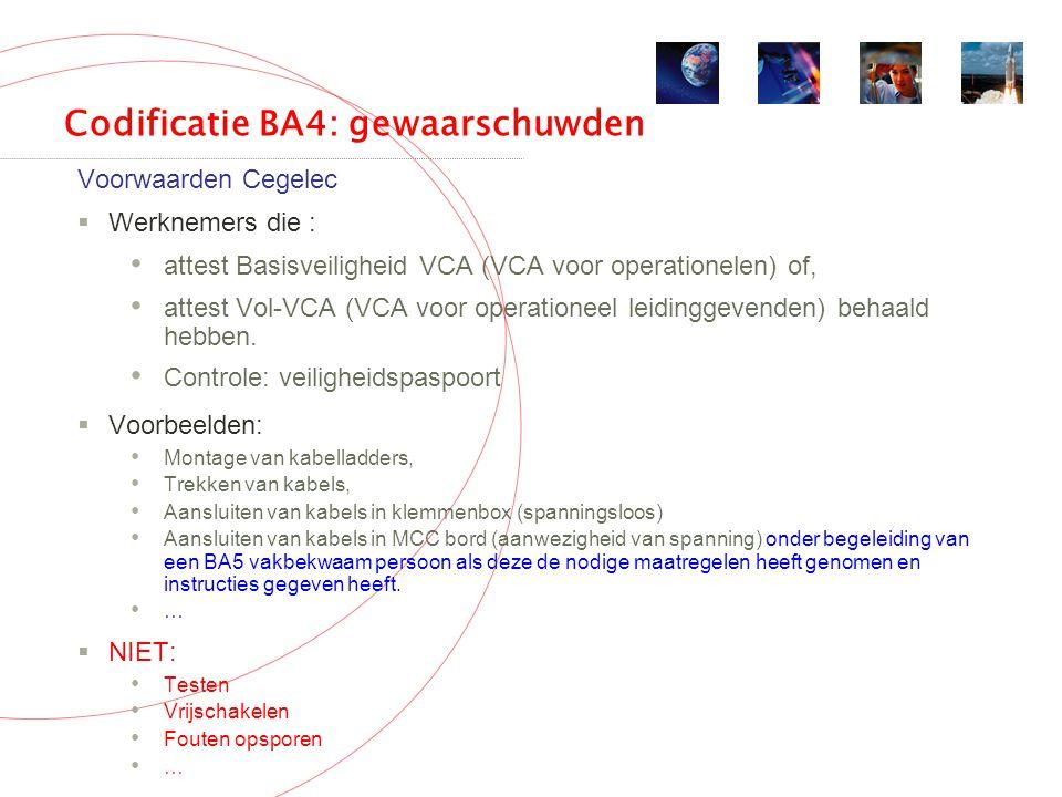 Codificatie BA4: gewaarschuwden Voorwaarden Cegelec  Werknemers die : attest Basisveiligheid VCA (VCA voor operationelen) of, attest Vol-VCA (VCA voor operationeel leidinggevenden) behaald hebben.