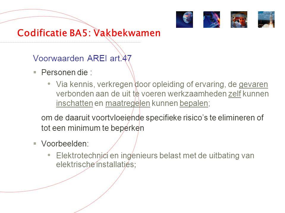 Codificatie BA5: Vakbekwamen Voorwaarden AREI art.47  Personen die : Via kennis, verkregen door opleiding of ervaring, de gevaren verbonden aan de uit te voeren werkzaamheden zelf kunnen inschatten en maatregelen kunnen bepalen; om de daaruit voortvloeiende specifieke risico's te elimineren of tot een minimum te beperken  Voorbeelden: Elektrotechnici en ingenieurs belast met de uitbating van elektrische installaties ;