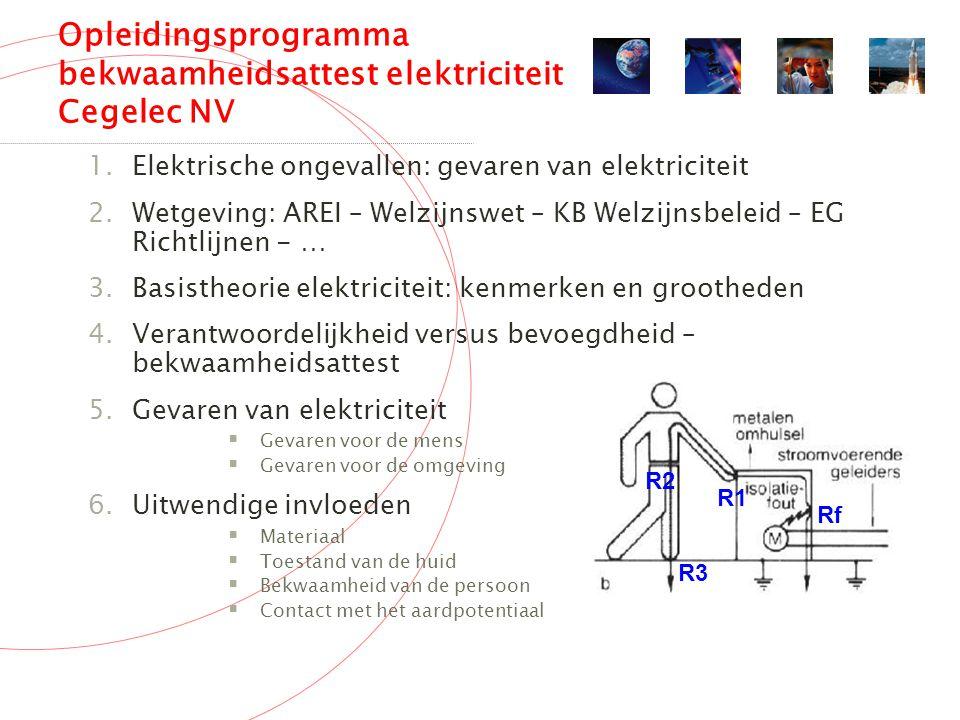 Opleidingsprogramma bekwaamheidsattest elektriciteit Cegelec NV 1.Elektrische ongevallen: gevaren van elektriciteit 2.Wetgeving: AREI – Welzijnswet – KB Welzijnsbeleid – EG Richtlijnen - … 3.Basistheorie elektriciteit: kenmerken en grootheden 4.Verantwoordelijkheid versus bevoegdheid – bekwaamheidsattest 5.Gevaren van elektriciteit  Gevaren voor de mens  Gevaren voor de omgeving 6.Uitwendige invloeden  Materiaal  Toestand van de huid  Bekwaamheid van de persoon  Contact met het aardpotentiaal R1 Rf R2 R3