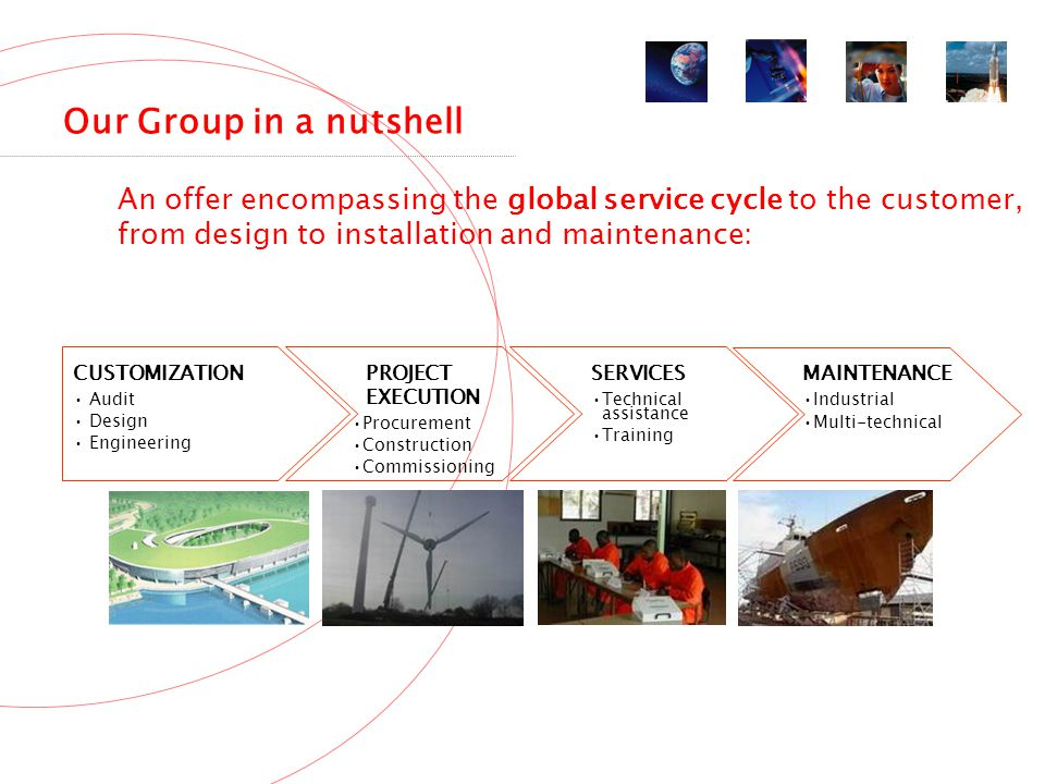 Our Group in a nutshell An offer encompassing the global service cycle to the customer, from design to installation and maintenance: CUSTOMIZATION Audit Design Engineering PROJECT EXECUTION Procurement Construction Commissioning SERVICES Technical assistance Training MAINTENANCE Industrial Multi-technical