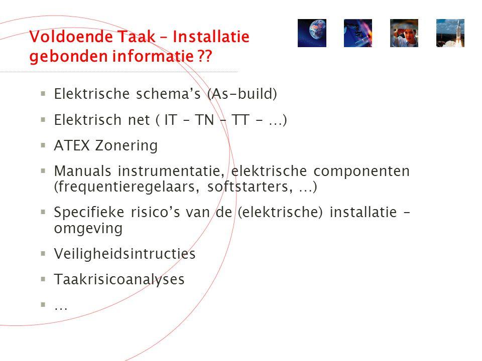 Voldoende Taak – Installatie gebonden informatie .