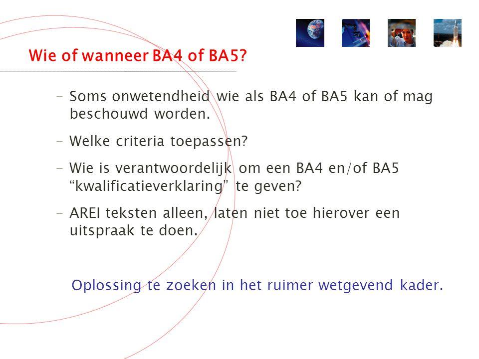 Wie of wanneer BA4 of BA5. -Soms onwetendheid wie als BA4 of BA5 kan of mag beschouwd worden.