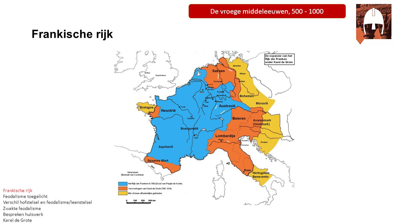 De vroege middeleeuwen, 500 - 1000 Frankische rijk Feodalisme toegelicht Verschil hofstelsel en feodalisme/leenstelsel Zwakte feodalisme Bespreken huiswerk Karel de Grote