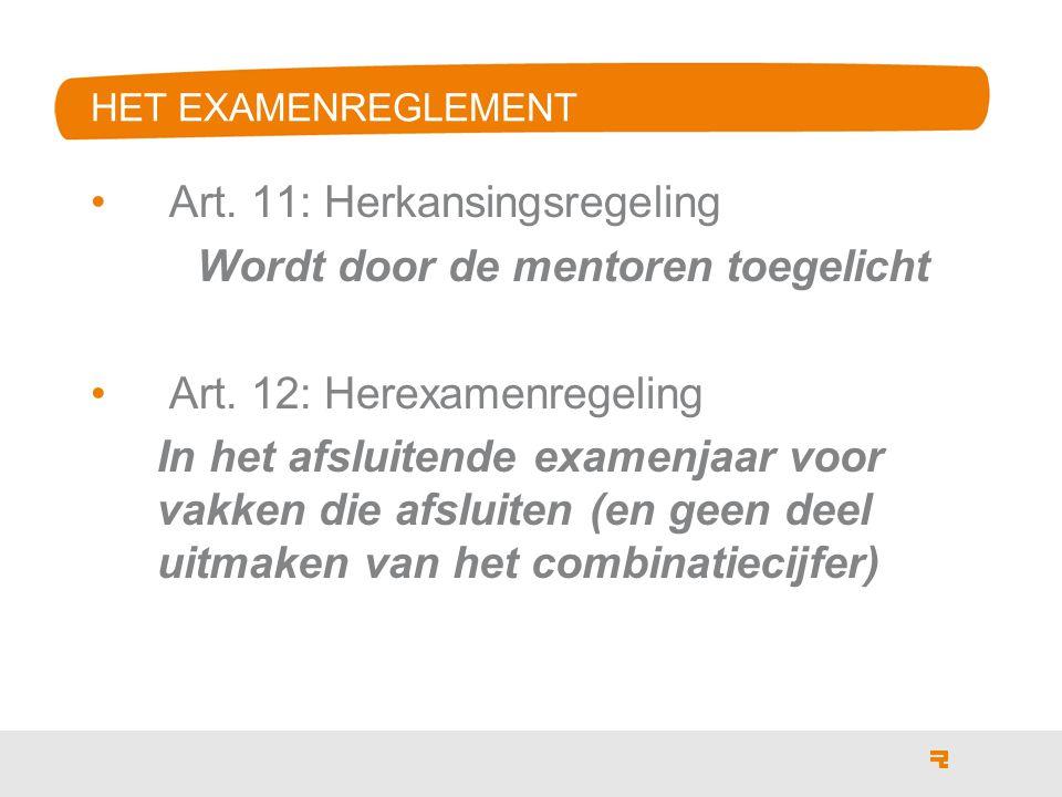 Art. 11: Herkansingsregeling Wordt door de mentoren toegelicht Art.