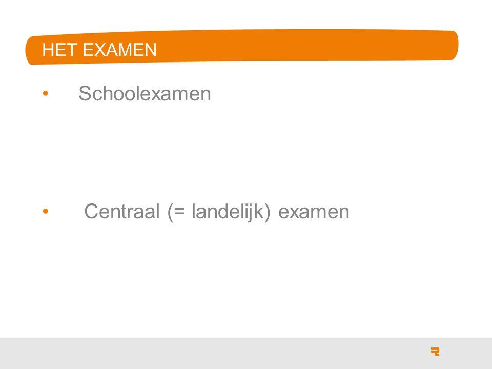 Schoolexamen Centraal (= landelijk) examen HET EXAMEN