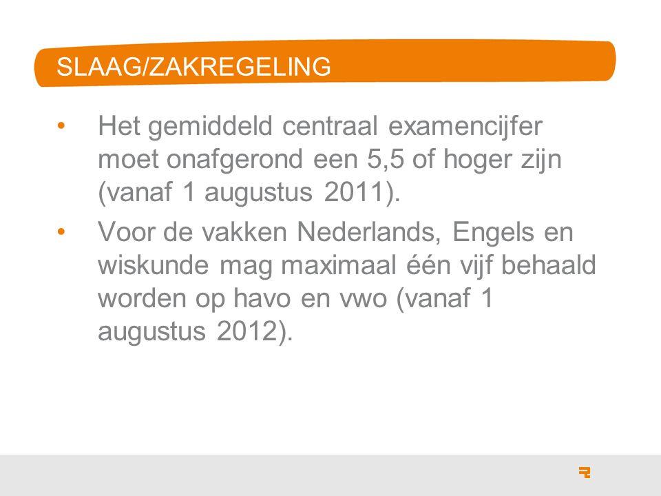 Het gemiddeld centraal examencijfer moet onafgerond een 5,5 of hoger zijn (vanaf 1 augustus 2011).