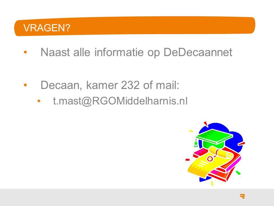 VRAGEN Naast alle informatie op DeDecaannet Decaan, kamer 232 of mail: t.mast@RGOMiddelharnis.nl