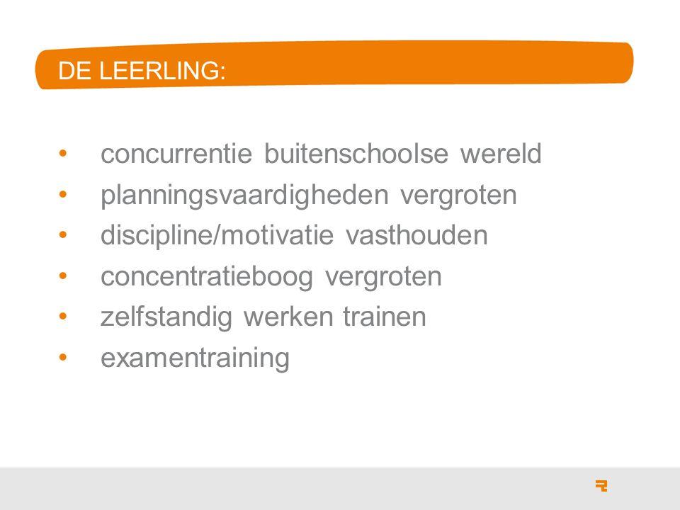 concurrentie buitenschoolse wereld planningsvaardigheden vergroten discipline/motivatie vasthouden concentratieboog vergroten zelfstandig werken trainen examentraining DE LEERLING: