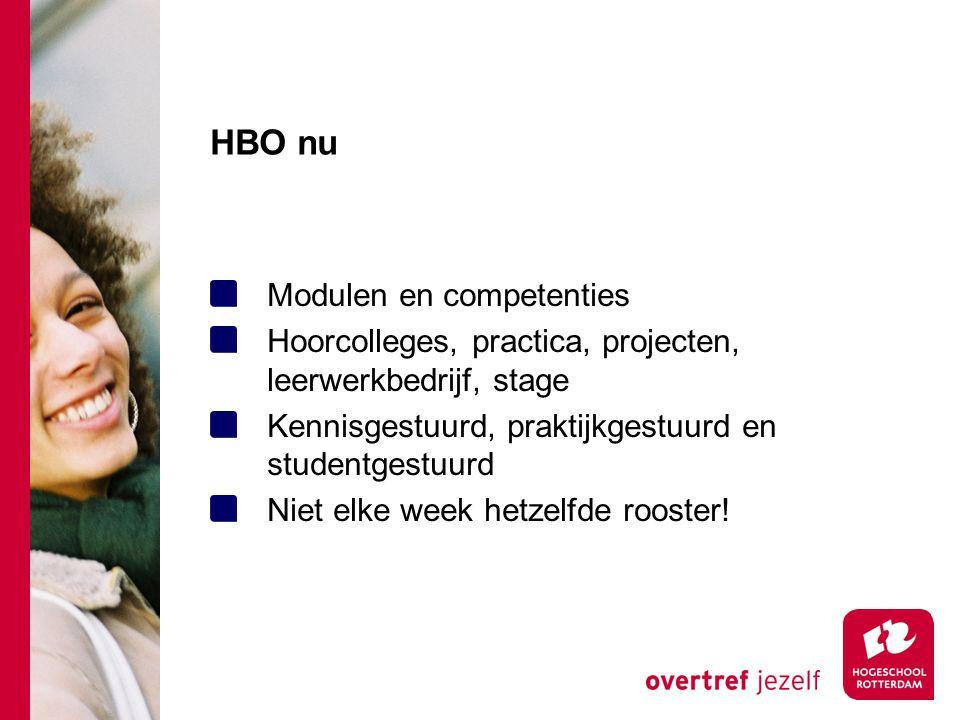 HBO nu Modulen en competenties Hoorcolleges, practica, projecten, leerwerkbedrijf, stage Kennisgestuurd, praktijkgestuurd en studentgestuurd Niet elke