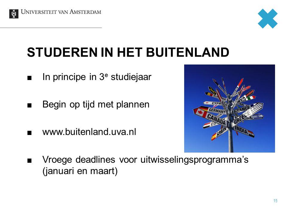 15 In principe in 3 e studiejaar Begin op tijd met plannen www.buitenland.uva.nl Vroege deadlines voor uitwisselingsprogramma's (januari en maart) STUDEREN IN HET BUITENLAND
