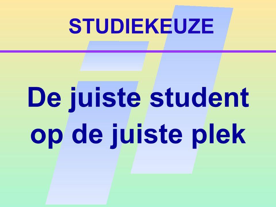 STUDIEKEUZE Kwaliteit in verscheidenheid – Minder studie-uitval – Minder switchen tussen studies – Sneller afstuderen – Studievoorschot (Leenstelsel)